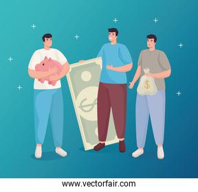 Save money of men holding piggy bill and bag vector design