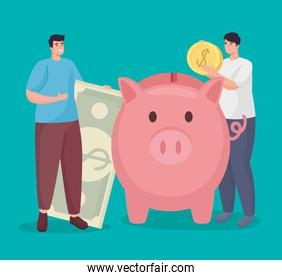 Save money of men holding coin bill and piggy vector design