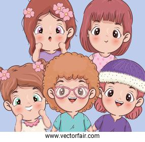 Girls cartoons icons isolated vector design