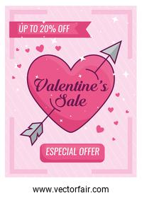Valentines day special offer and heart with arrow vector design