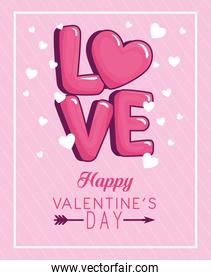 Happy valentines day and love hearts vector design