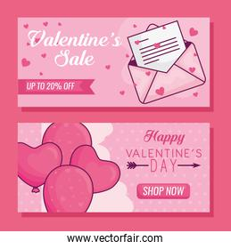 Happy valentines day envelope and hearts balloons vector design