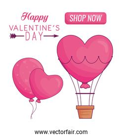 Hapy valentines day heart balloons and hot air balloon vector design