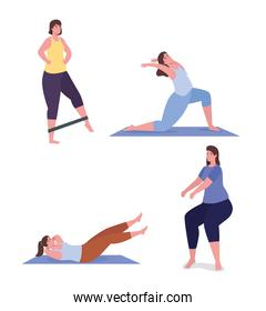 People doing exercise icon set vector design