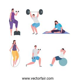 People doing exercise symbol set vector design