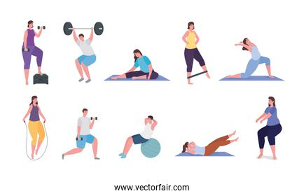 People doing exercise icon collection vector design