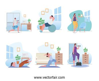 People doing exercise at home icon collection vector design