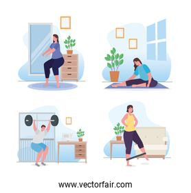 People doing exercise at home icon set vector design