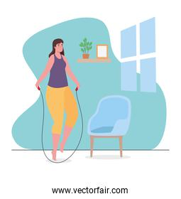 Woman jumping rope at home vector design