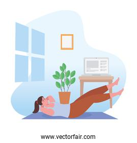 Woman doing exercise on mat at home vector design