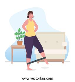 Woman doing exercise with elastic rope at home vector design