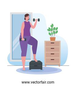 Woman lifting weights on step at home vector design