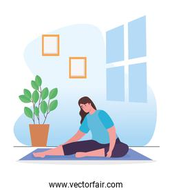 Woman stretching at home vector design