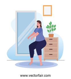 Woman doing exercise at home vector design