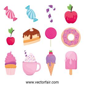 Sweet food icon collection vector design