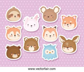 Kawaii animals heads cartoons stickers icon set vector design