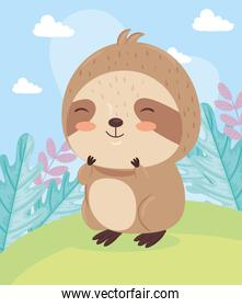 Kawaii sloth bear animal cartoon on landscape vector design