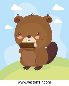 Kawaii beaver animal cartoon on landscape vector design