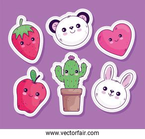 Kawaii stickers cartoons icon collection vector design