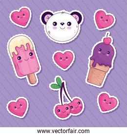Kawaii stickers cartoons icon collection with hearts vector design