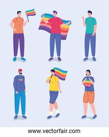 group of six persons with lgtbi flags characters