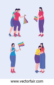 group of six persons with lgtbi flags