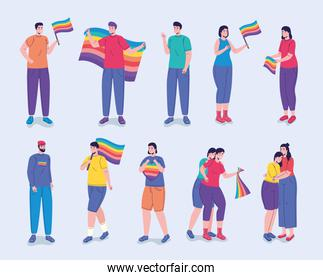 group of twelve persons with lgtbi flags characters