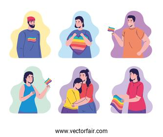 group of seven persons with lgtbi flags characters