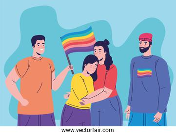 group of four persons with lgtbi flag