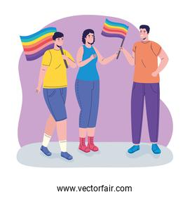 group of three persons with lgtbi flags characters