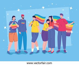 six persons with lgtbi flags characters