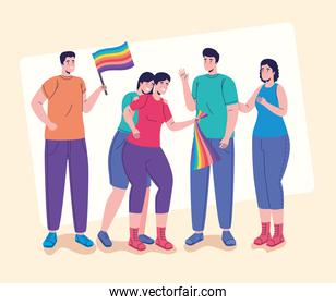 group of five persons with lgtbi flags characters