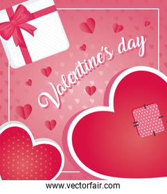 valentines day poster lettering with hearts and gift