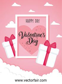 valentines day poster lettering with gifts in square frame