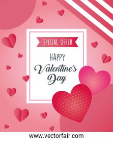 valentines day poster lettering with hearts in square frame