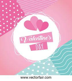 valentines day poster lettering with hearts in circular frame