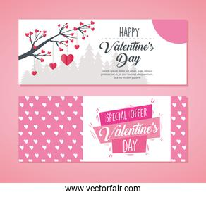 valentines day poster lettering with tree branch and hearts