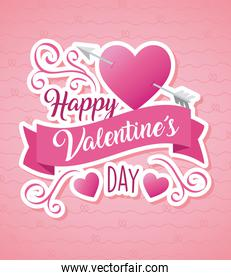 valentines day poster lettering with arrow in heart