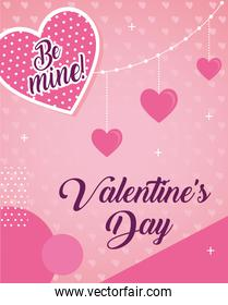 valentines day poster lettering with hearts hanging