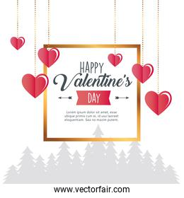 valentines day poster lettering with hearts hanging in square golden frame