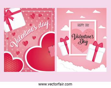 valentines day posters letterings with gifts and hearts