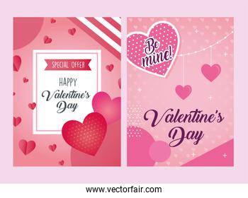 valentines day posters letterings with hearts