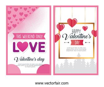 valentines day posters letterings with hearts and golden frame