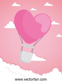 valentines day card with balloon air hot with heart shape