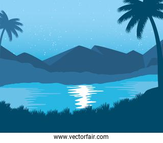 exotic beach with palms abstract landscape scene