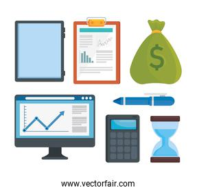 bundle of seven sales and finance analysis set icons