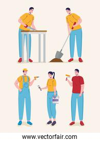 group of builders constructors workers characters