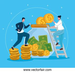 woman in stairs with jar with money and businessman running