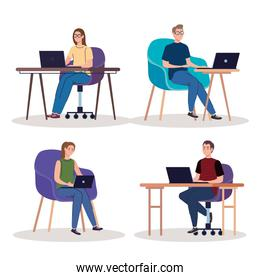 young people freelancers workers characters using laptops