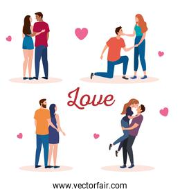 bundle of four couples lovers characters with hearts and lettering